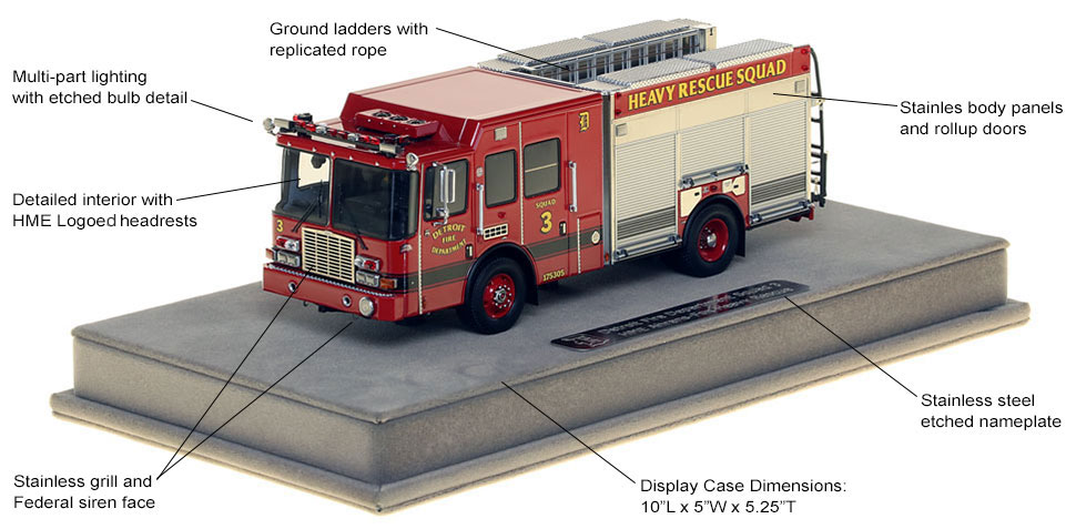 Features and Specs of Detroit Heavy Rescue Squad 3 scale model
