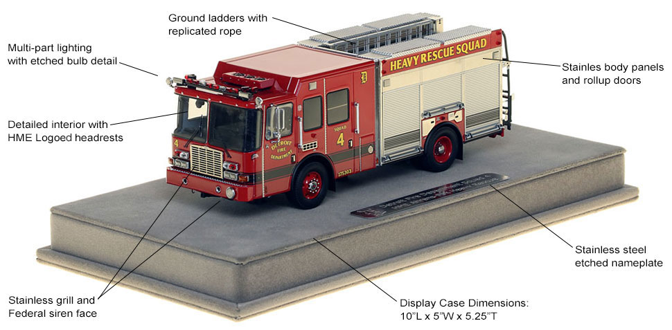 Features and Specs of Detroit Heavy Rescue Squad 4 scale model