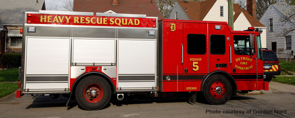 Detroit Fire Department Heavy Rescue Squad 5 courtesy of Gordon Nord