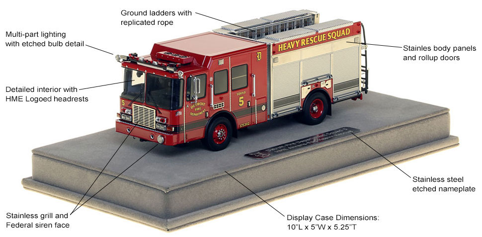 Features and Specs of Detroit Heavy Rescue Squad 5 scale model