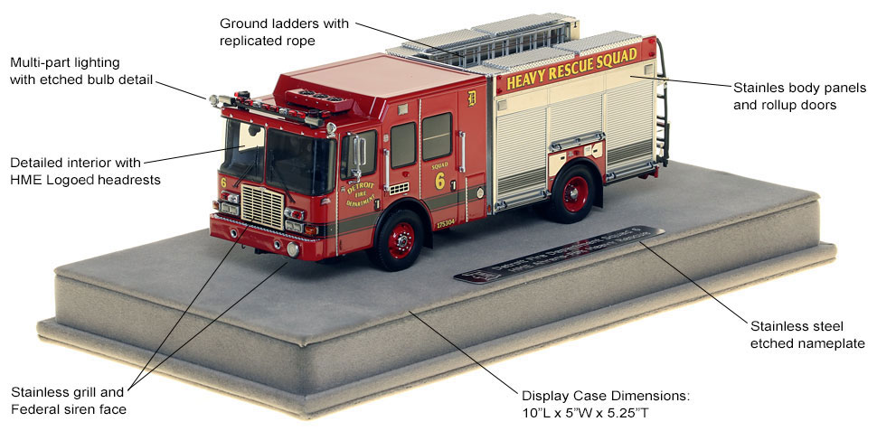 Features and Specs of Detroit Heavy Rescue Squad 6 scale model