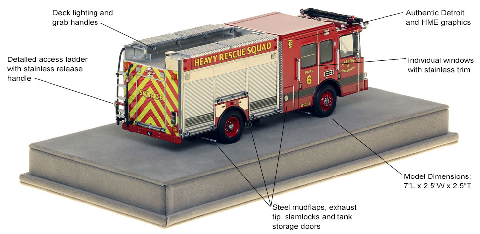 Specs and features of Detroit Heavy Rescue 6 scale model