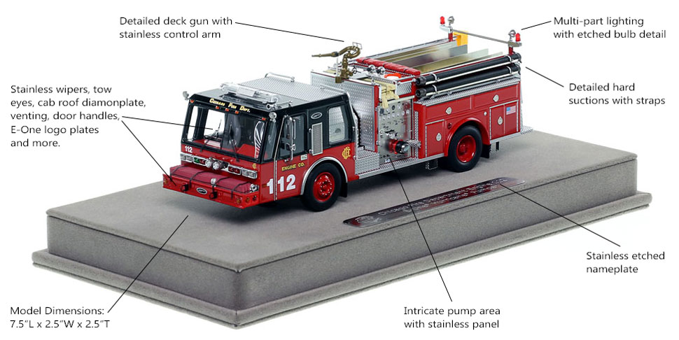 Features and Specs of Chicago E-One Hurricane Engine 112 scale model