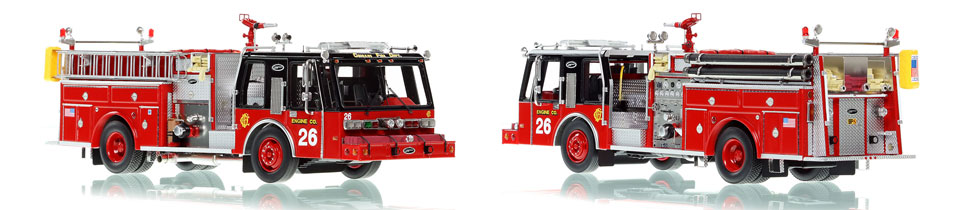 Chicago E-One Hurricane Engine 26 scale model is hand-crafted and intricately detailed.