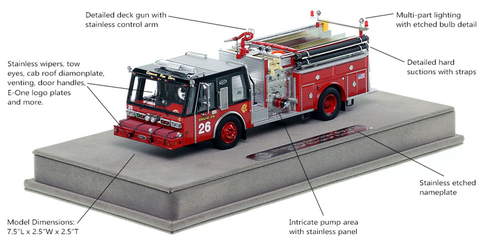 Features and Specs of Chicago E-One Hurricane Engine 26 scale model