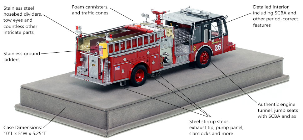 Specs and Features of Chicago E-One Hurricane Engine 26 scale model