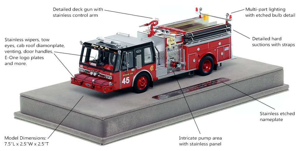 Features and Specs of Chicago E-One Hurricane Engine 45 scale model