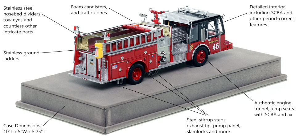 Specs and Features of Chicago E-One Hurricane Engine 45 scale model
