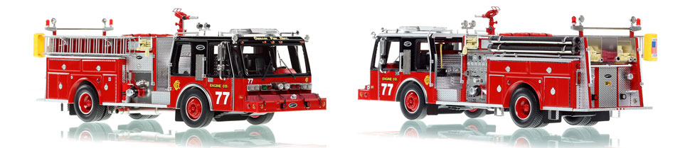 Chicago E-One Hurricane Engine 77 scale model is hand-crafted and intricately detailed.