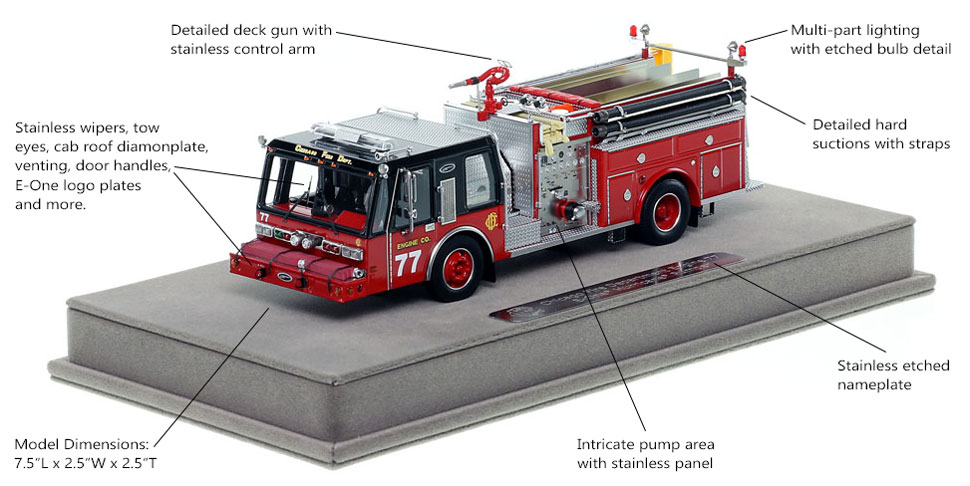 Features and Specs of Chicago E-One Hurricane Engine 77 scale model
