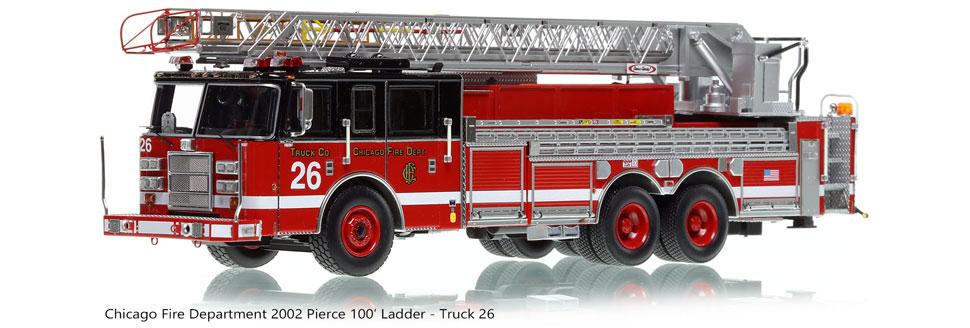 Chicago's 2002 Pierce Dash 100' Aerial - Truck 26 scale model