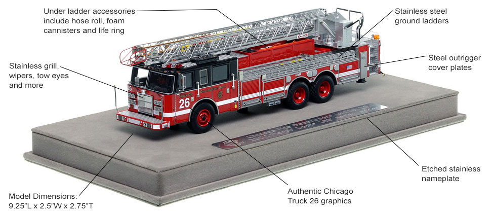 Features and Specs of Chicago's 2002 Truck 26 scale model