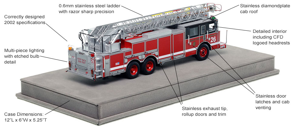 Specs and features of Chicago's 2002 Pierce Truck 26 scale model