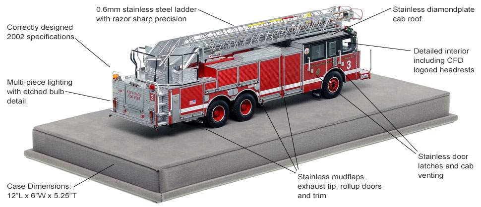 Specs and features of Chicago's 2002 Pierce Truck 3 scale model