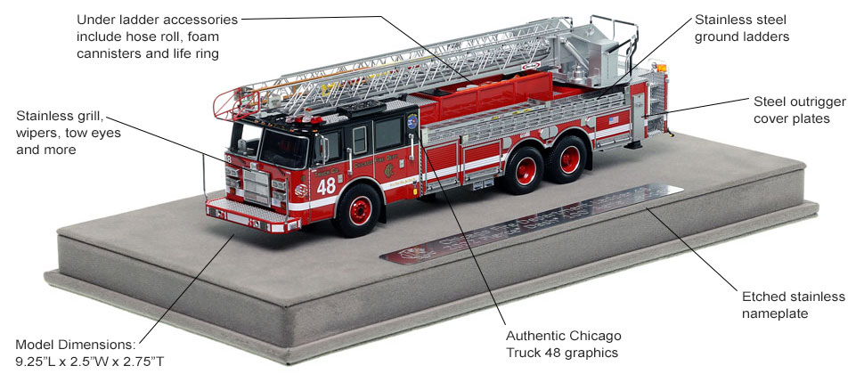 Features and Specs of Chicago's 2002 Truck 48 scale model