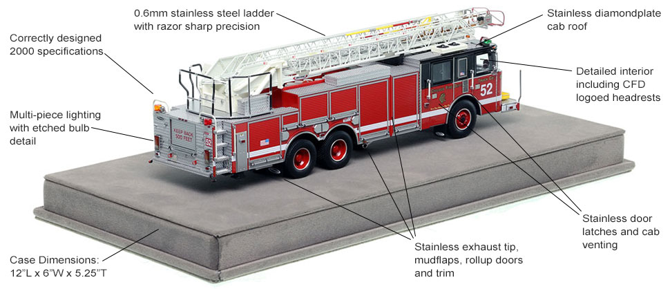 Specs and features of Chicago's 2000 Pierce Truck 52 scale model