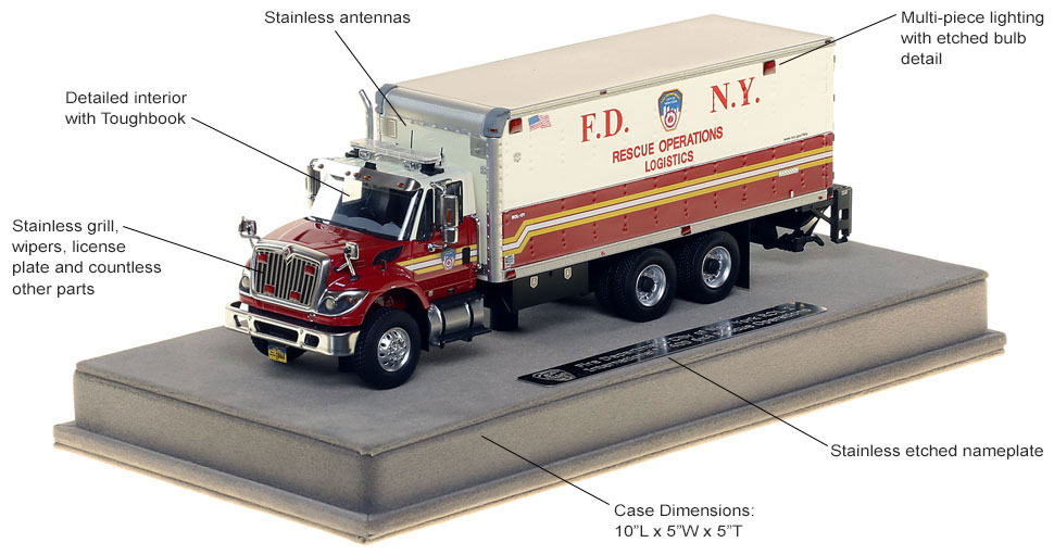 Features and specs of FDNY Rescue Operations Logistics 1 scale model