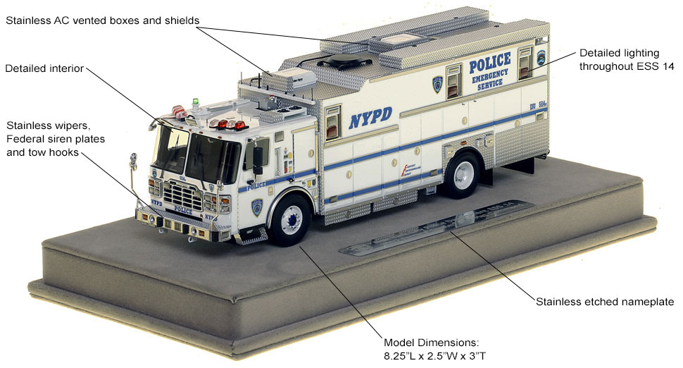 Features and specs of NYPD ESS Truck 14 Haz-Mat Command scale model
