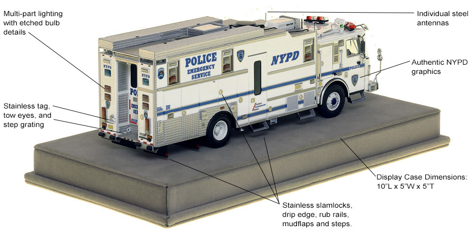 Specs and Features of NYPD ESS Truck 14 Haz-Mat Command scale model