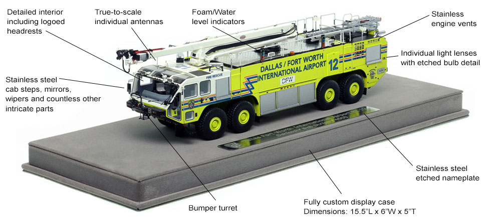 Features and Specs of Dallas/Fort Worth EZ 12 scale model