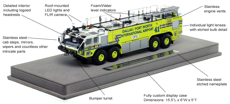 Features and Specs of Dallas/Fort Worth EZ 41 scale model