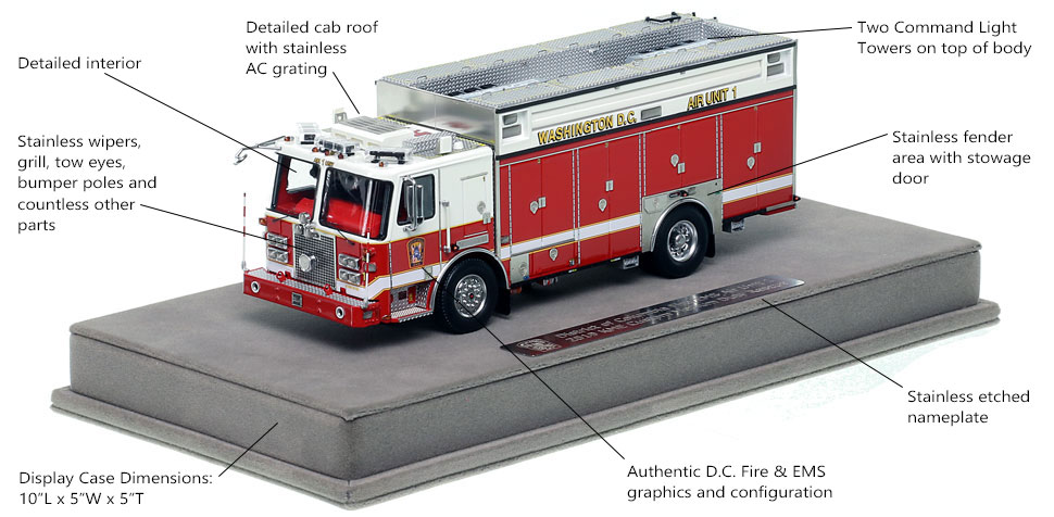 Features and Specs of DC Fire and EMS KME Air Unit 1 scale model