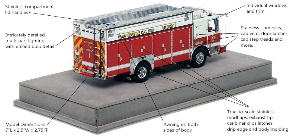 Specs and Features of DC Fire and EMS KME Air Unit 1 scale model