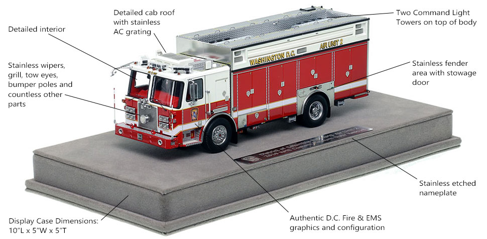 Features and Specs of DC Fire and EMS KME Air Unit 2 scale model
