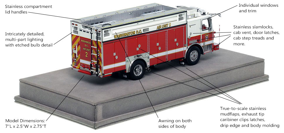 Specs and Features of DC Fire and EMS KME Air Unit 2 scale model