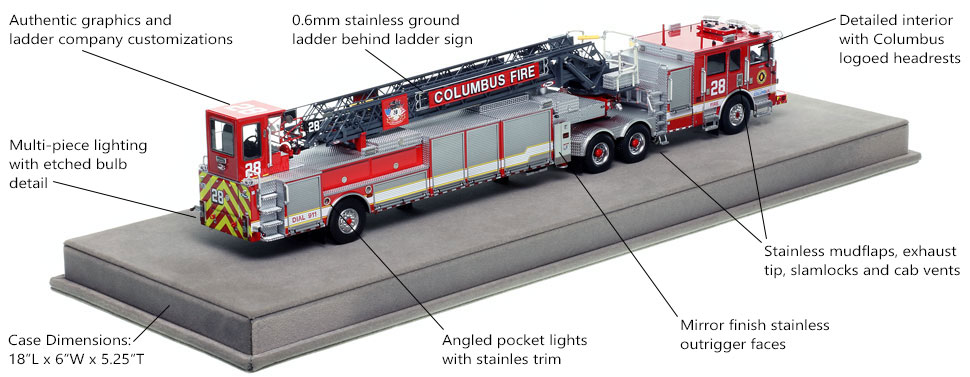 Specs and Features of Columbus Fire Department Pierce Arrow XT Ladder 28 scale model