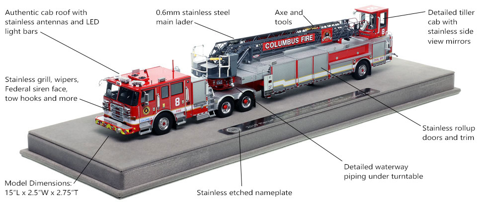 Features and specs of Columbus Fire Department Pierce Arrow XT Ladder 8 scale model