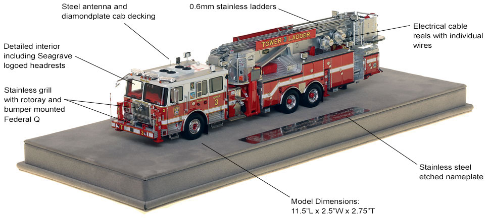 Features and Specs of DC Fire and EMS Tower Ladder 3 scale model