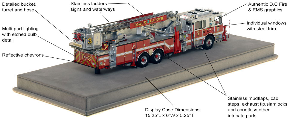 Specs and Features of DC Fire and EMS Tower Ladder 3 scale model