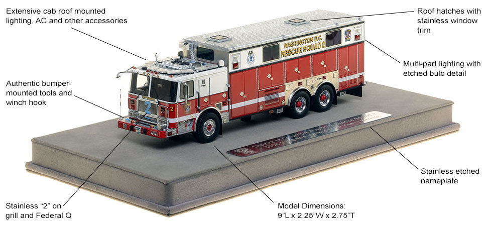 Features and Specs of DC Fire and EMS Rescue 2 scale model