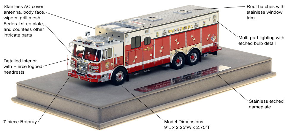 Features and Specs of DC Fire and EMS HazMat 1 scale model