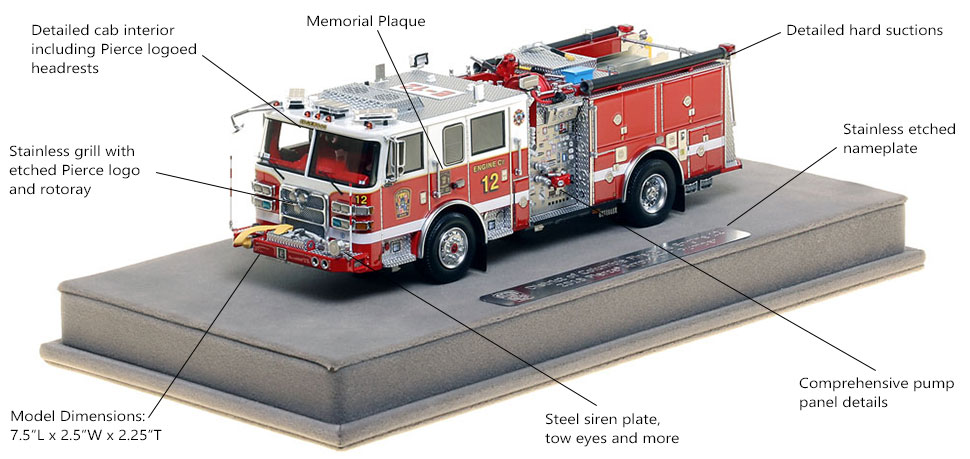 Features and Specs of DC Fire and EMS Engine 12 scale model