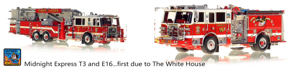 Midnight Express Tower 3 and Engine 16 are first due to The White House