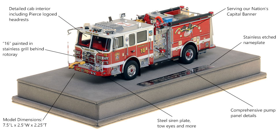 Features and Specs of DC Fire and EMS Engine 16 scale model
