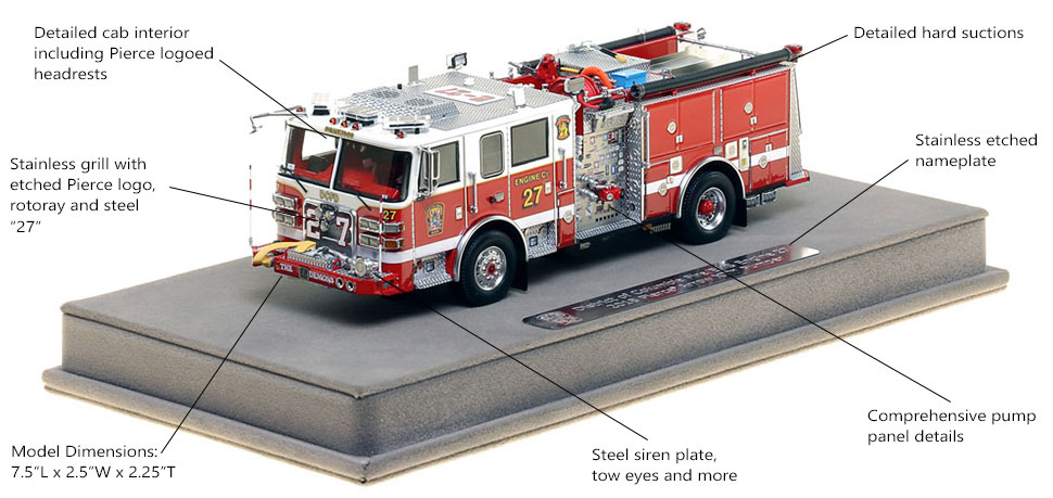 Features and Specs of DC Fire and EMS Engine 27 scale model