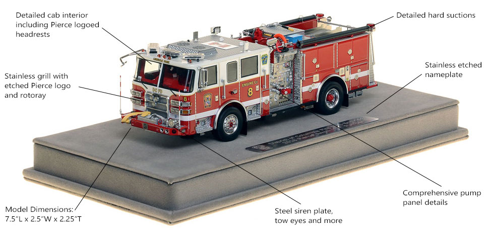 Features and Specs of DC Fire and EMS Engine 8 scale model