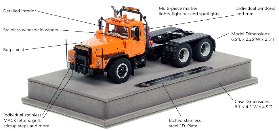 Features and Specs of the Mack DM 800 Tandem Axle Tractor scale model