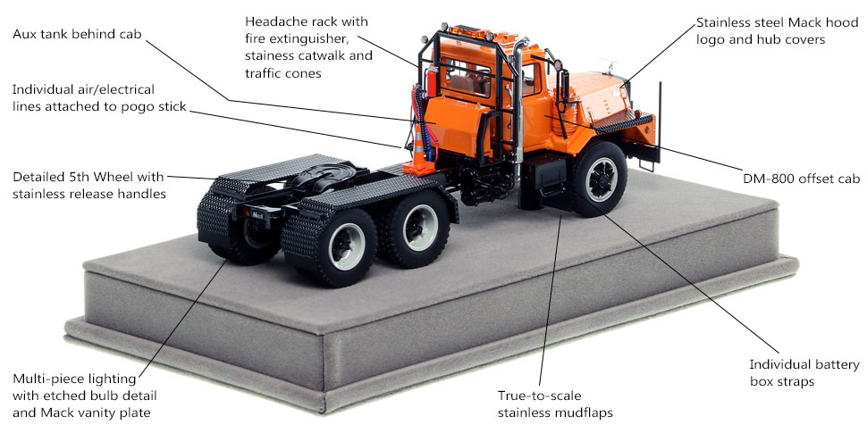 Specs and Features of the Mack DM 800 tandem axle tractor scale model