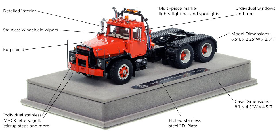 Features and specs of the red over black Mack DM 800 scale model