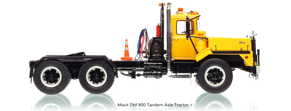 Order your Mack DM 800 tandem axle tractor in yellow over black