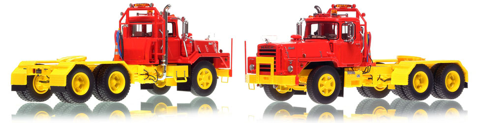 Mack DM 800 tandem axle tractor scale model in red over yellow is hand-crafted and intricately detailed.