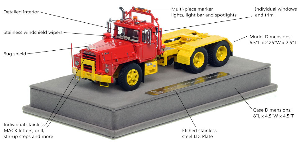 Features and specs of the Mack DM 800 tandem axle tractor scale model in red over yellow