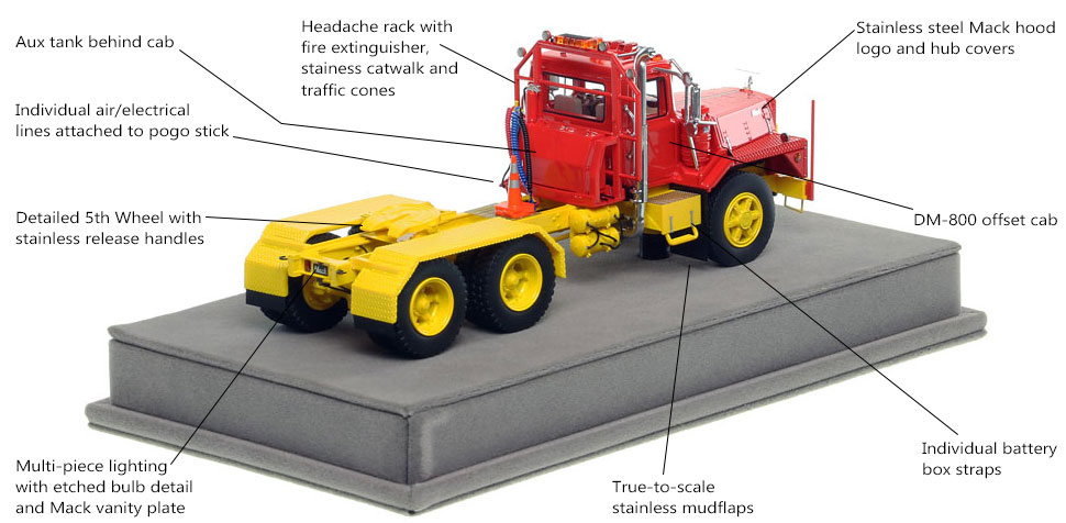 Specs and features of the Mack DM 800 tandem axle tractor scale model in red over yellow