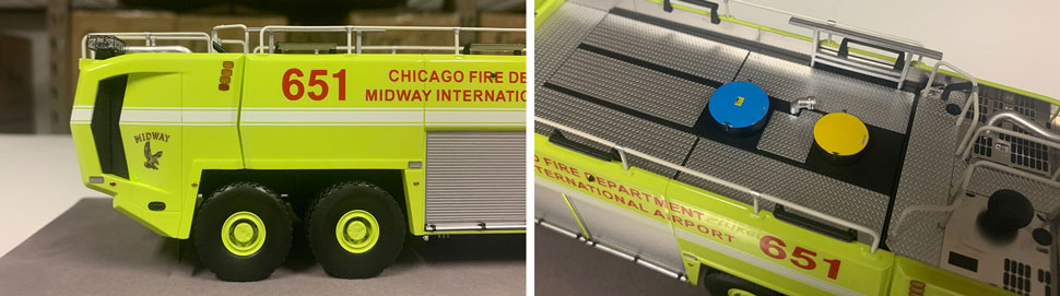 Close up images 7-8 of Chicago Midway ARFF 651 scale model