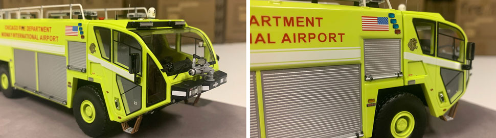 Close up images 9-10 of Chicago Midway ARFF 651 scale model