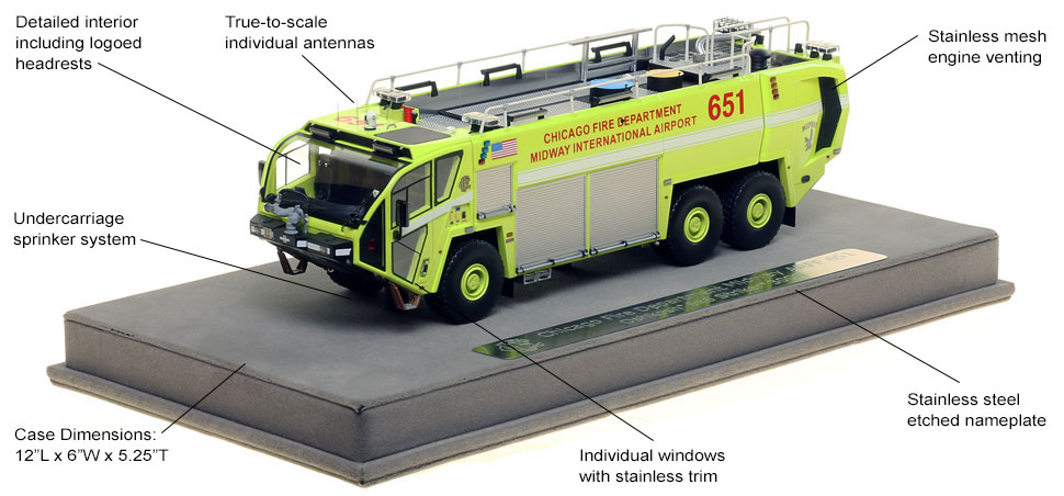 Features and Specs of Chicago Midway ARFF 651 scale model